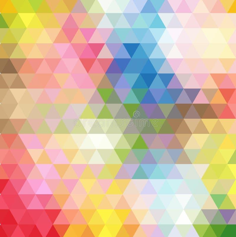 Polígono multicolor abstracto, fondo bajo del polígono Transfusión del color Todos los colores del arco iris geométrico stock de ilustración