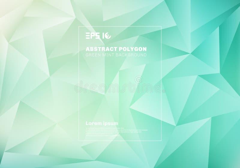Polígono o modelo bajo abstracto de los triángulos en fondo verde azul y textura de la menta stock de ilustración