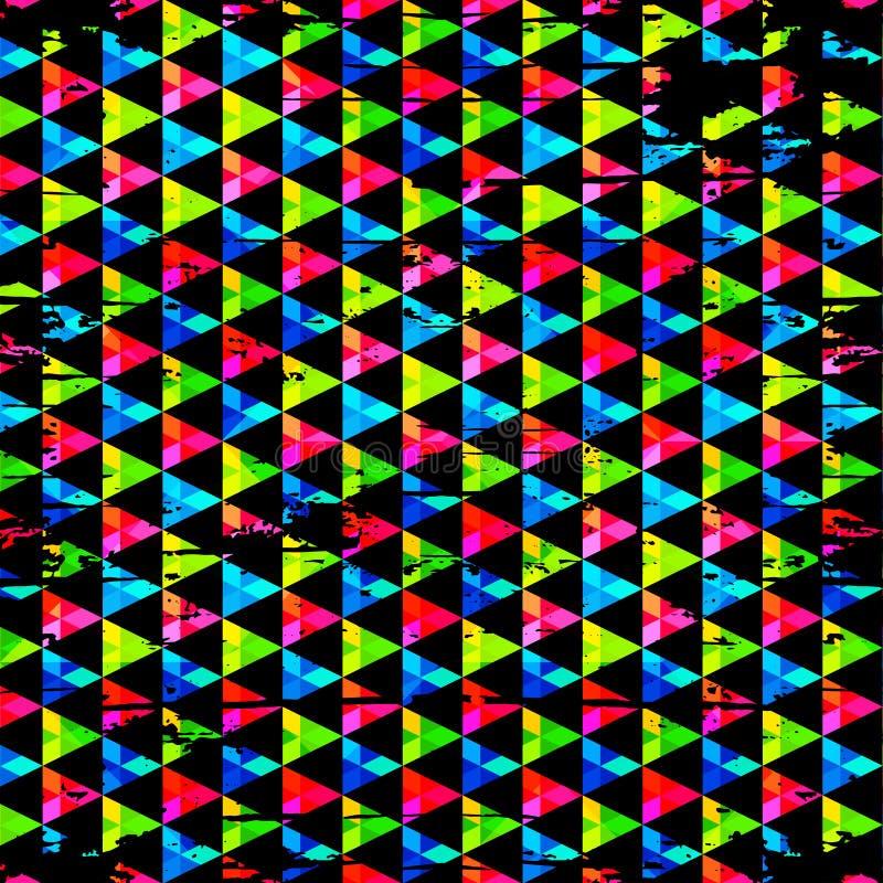 Polígono pequenos em uma textura geométrica do grunge do sumário preto do fundo ilustração royalty free