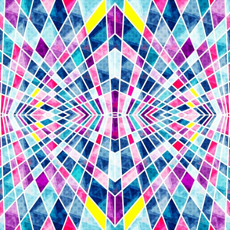 Polígono psicadélicos com fundo geométrico abstrato brilhante dos contornos brancos ilustração stock