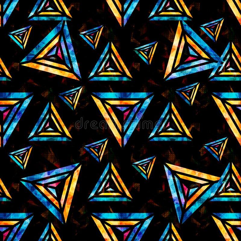 Polígonos psicodélicos brillantes en un modelo inconsútil geométrico del extracto negro del fondo ilustración del vector
