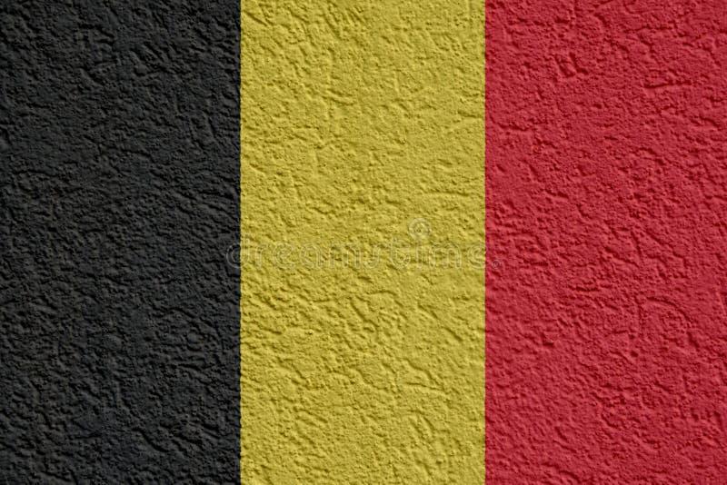 Política de Bélgica ou conceito do negócio: Parede belga da bandeira com emplastro, textura ilustração royalty free