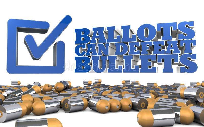 Política de controlo de armas - edição da eleição na urna de voto ilustração royalty free