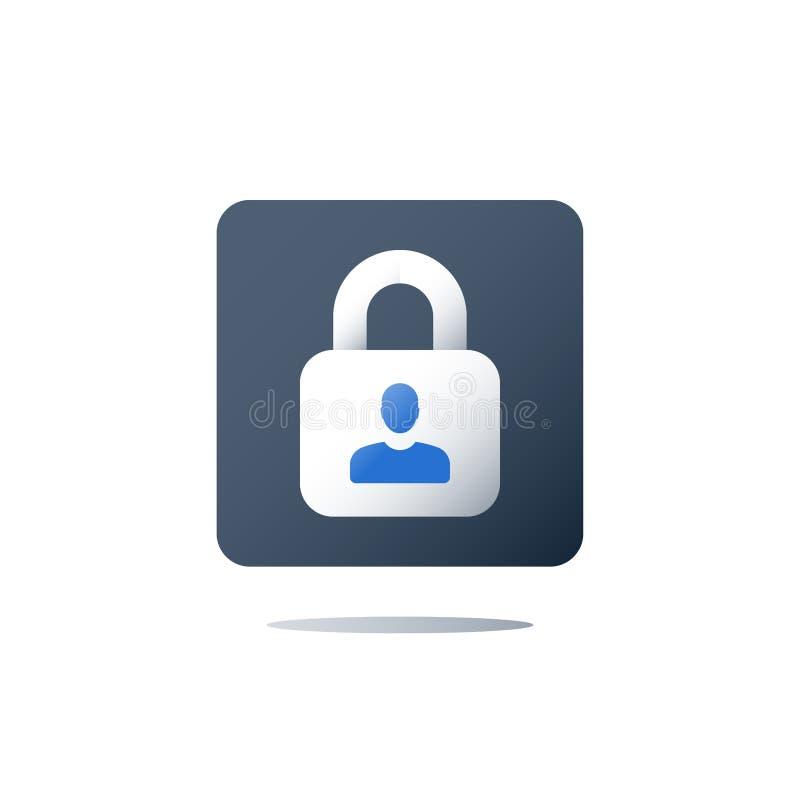 Política de privacidad, seguridad de datos personal, concepto de GDPR, icono del vector ilustración del vector