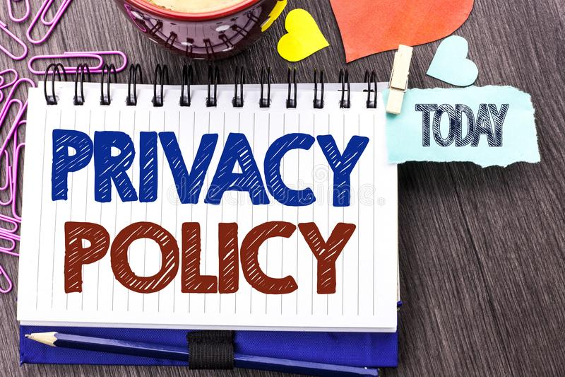 Política de privacidade da escrita do texto da escrita Proteção de dados confidencial da segurança da informação do original do s fotografia de stock royalty free