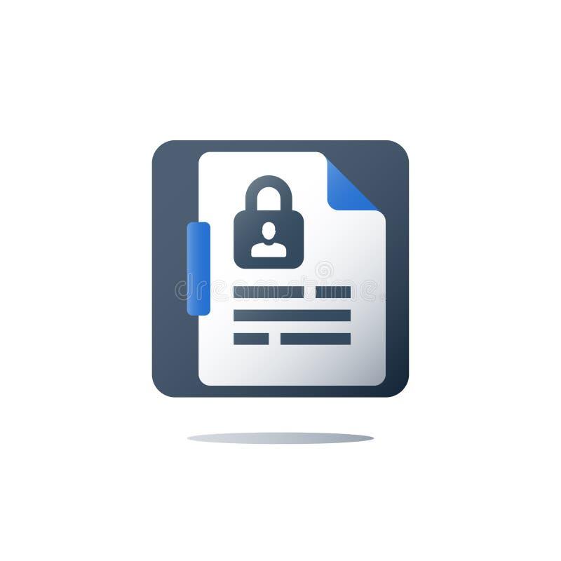 Política de privacidade, segurança de dados pessoal, conceito de GDPR, ícone do vetor ilustração do vetor