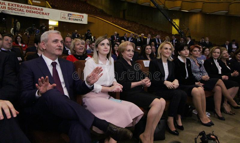 Política de Rumania - congreso de Partido Democrático Social imágenes de archivo libres de regalías