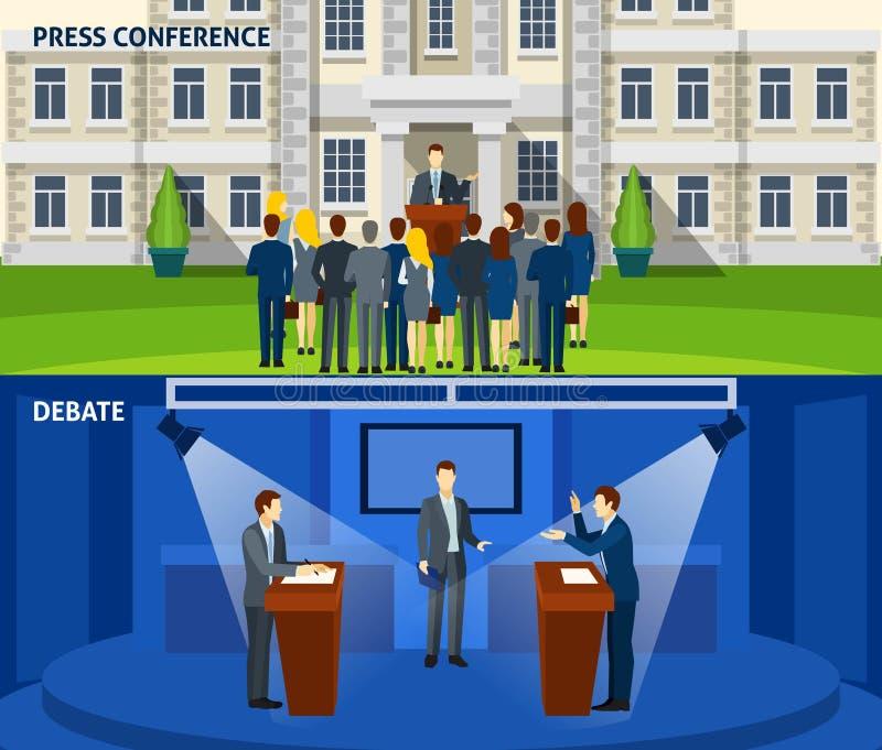 Política duas bandeiras lisas ajustadas ilustração do vetor