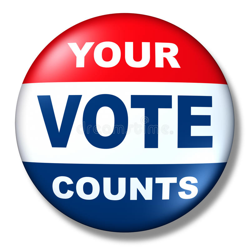 Política patriótica de la elección de la divisa del botón del voto ilustración del vector