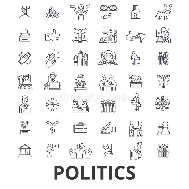 Política, político, voto, elección, campaña, gobierno, iconos políticos de la línea del partido Movimientos Editable Diseño plano stock de ilustración