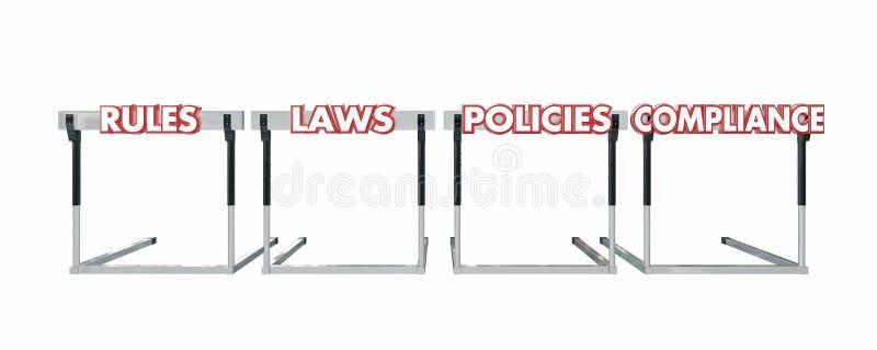 Políticas das leis das regras que saltam o negócio legal dos obstáculos ilustração do vetor