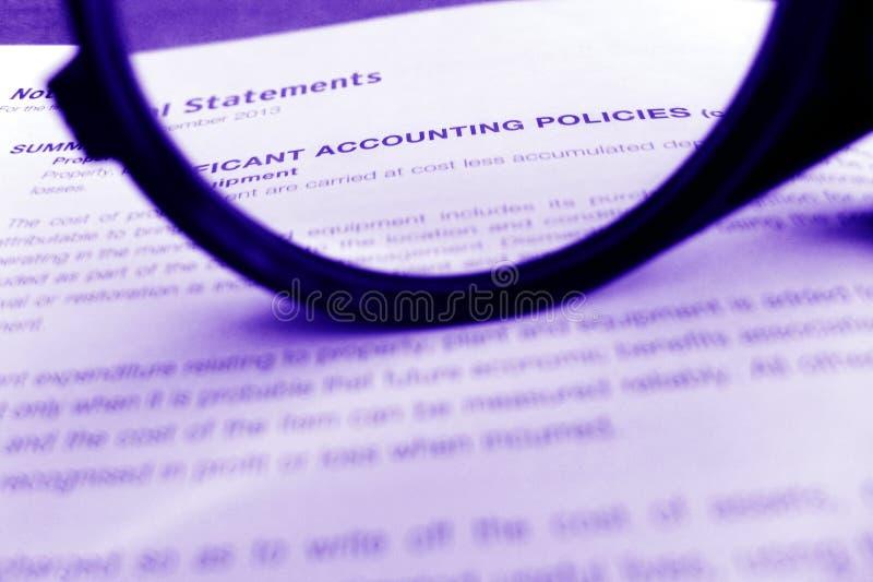 Políticas de contabilidad, foco encendido foto de archivo
