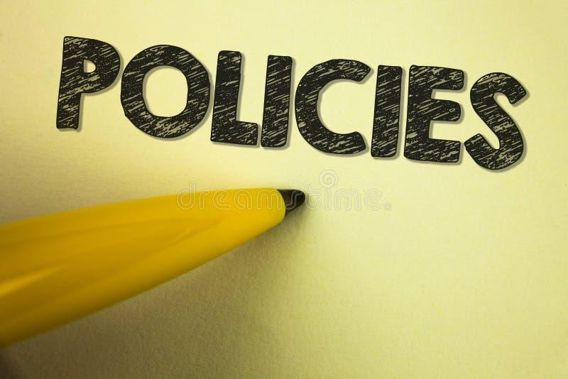 Políticas do texto da escrita da palavra O conceito do negócio para a empresa ou o governo de negócio ordena os padrões dos regul fotografia de stock