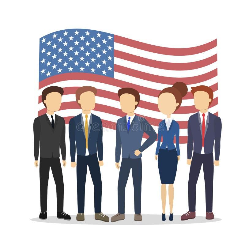 Político americano com bandeira ilustração do vetor