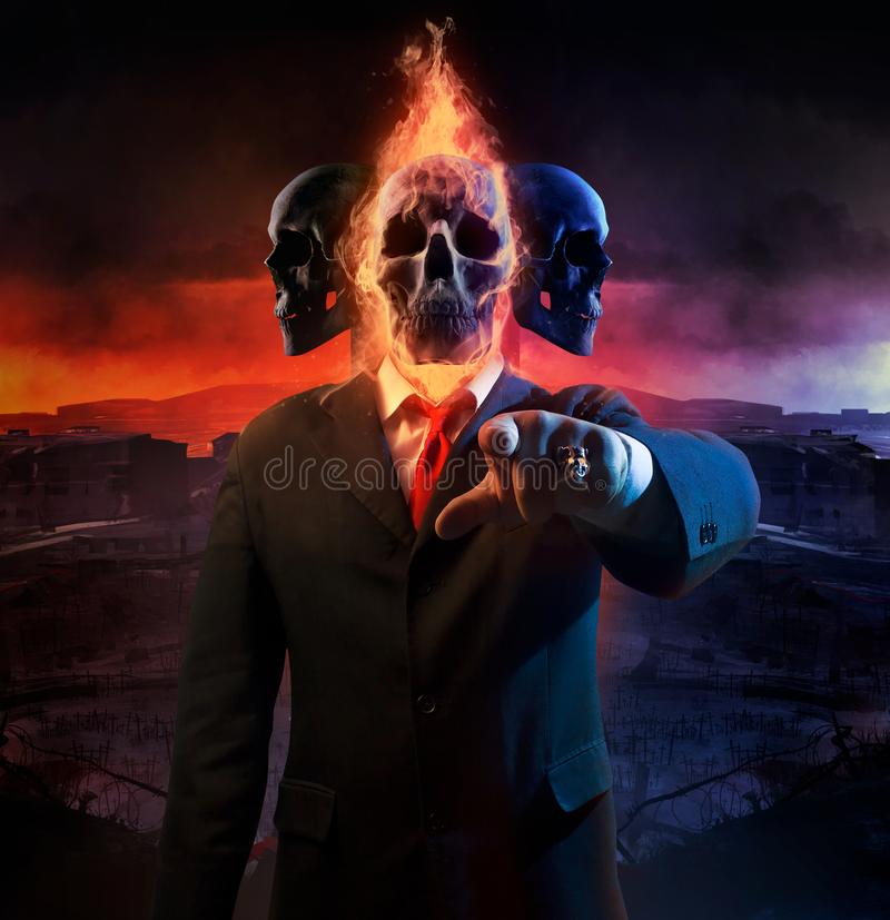 Político de la guerra con tres cabezas libre illustration