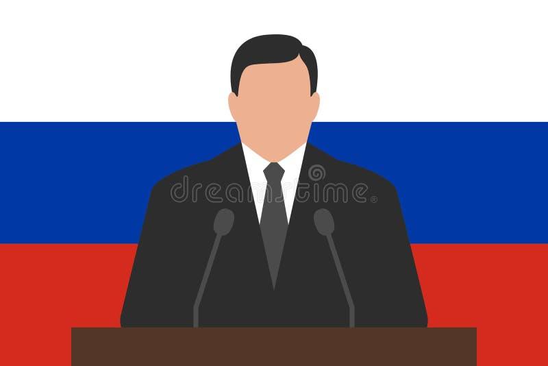 Político detrás del podio, bandera de Rusia en el fondo ilustración del vector
