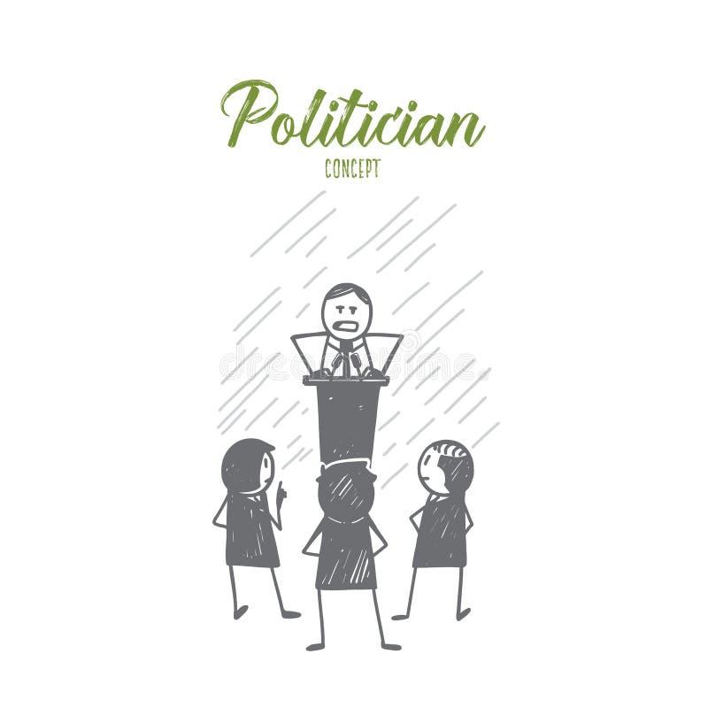 Político dibujado mano que habla de tribuna ilustración del vector