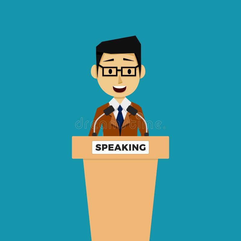 Político do orador público na tribuna ilustração stock
