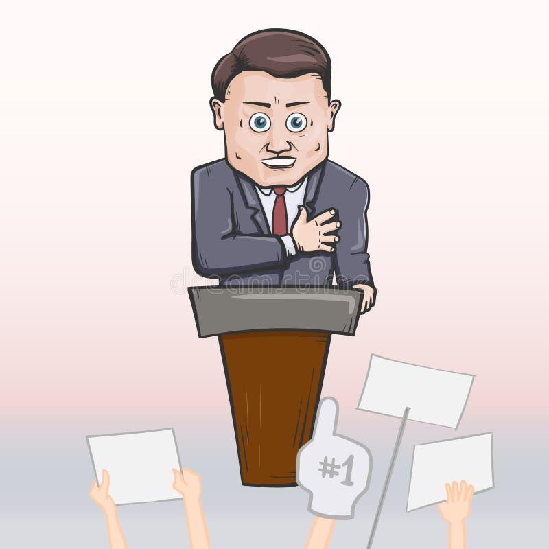 Político que hace discurso stock de ilustración