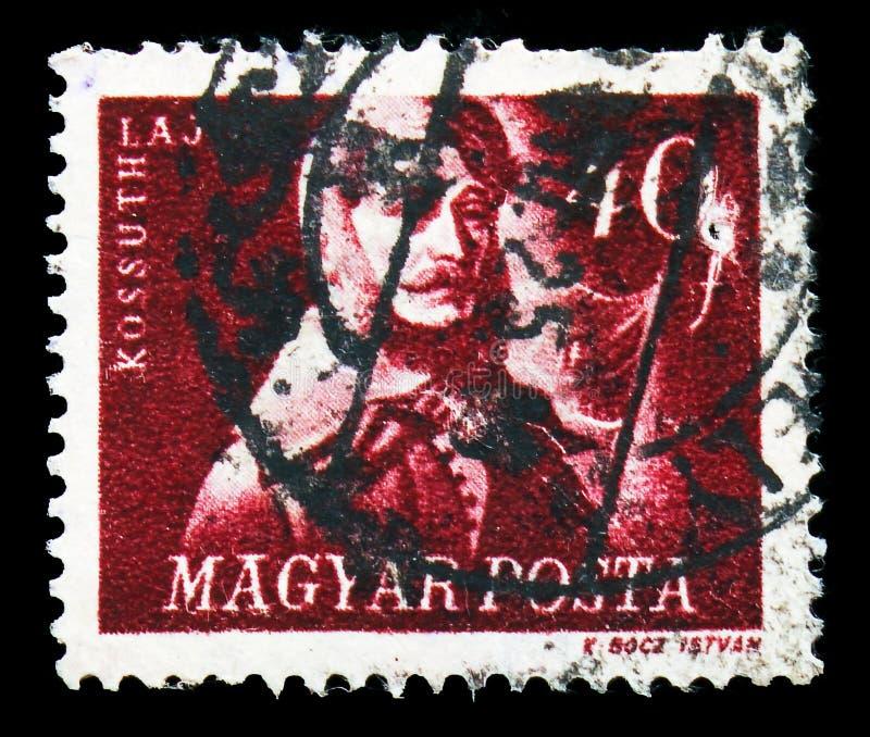 Político 1802-1894, serie de Lajos Kossuth húngaro dos lutadores da liberdade, cerca de 1947 fotografia de stock royalty free