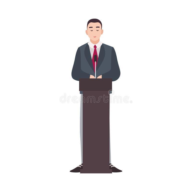 Político, trabalhador do governo, candidato presidencial que está na tribuna e que faz o discurso público Desenhos animados mascu ilustração royalty free