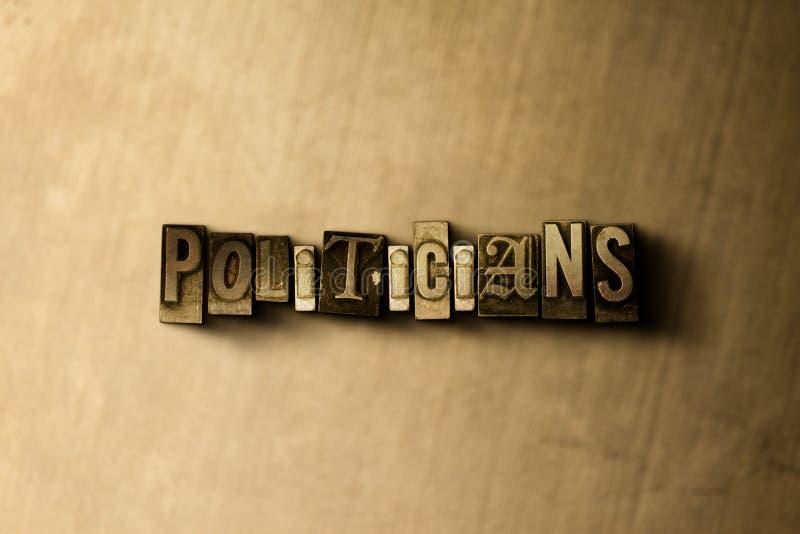 POLÍTICOS - close-up vintage sujo da palavra typeset no contexto do metal ilustração stock