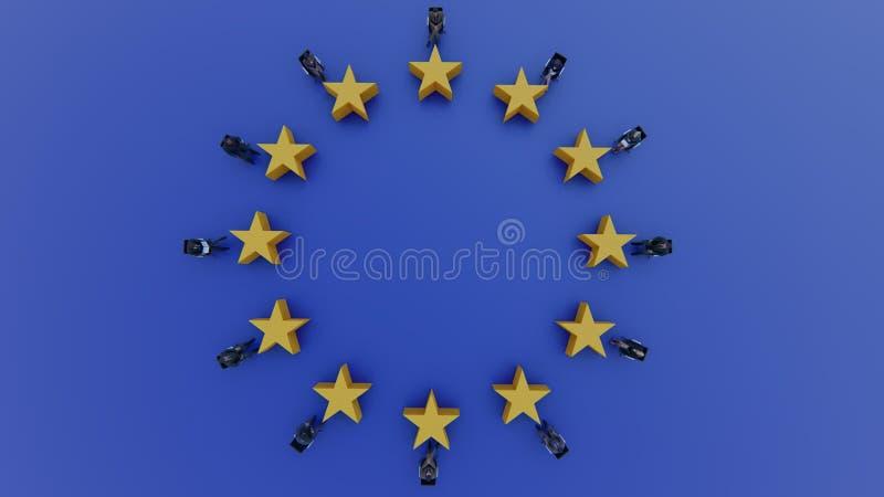 Políticos da bandeira da União Europeia para sentar-se e discutir no parlamento ilustração royalty free