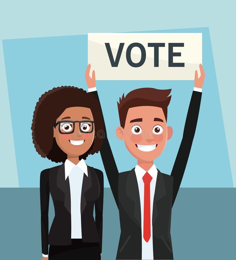 Políticos na campanha do voto ilustração do vetor