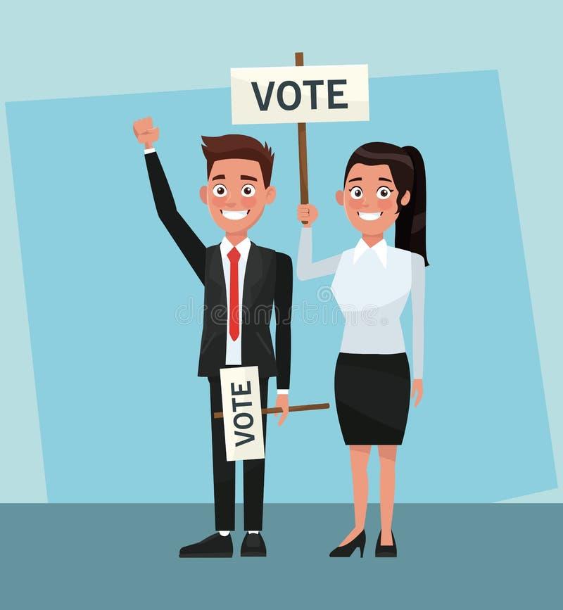 Políticos na campanha do voto ilustração stock