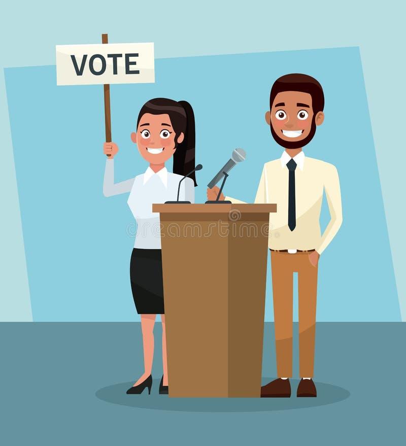 Políticos na campanha do voto ilustração royalty free