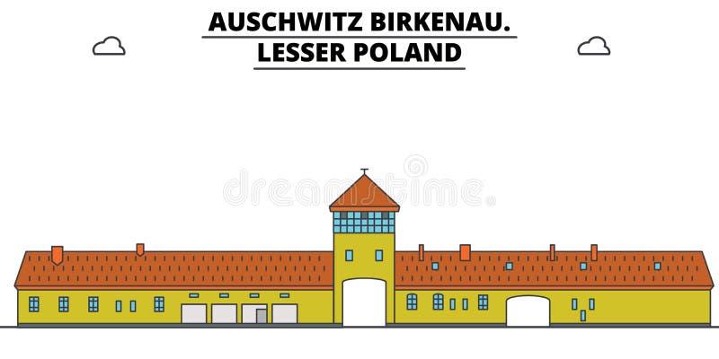 Polônia, Auschwitz Birkenau, ilustração do vetor da skyline do curso ilustração royalty free
