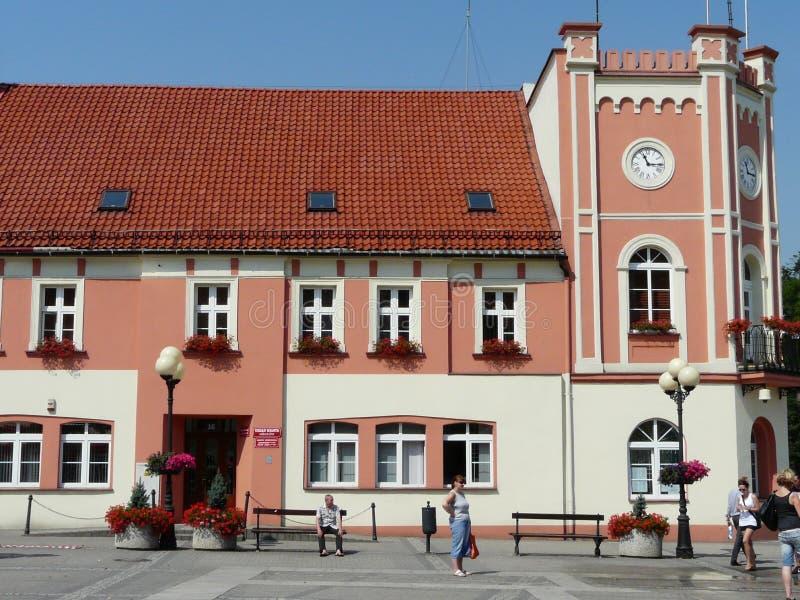 POLÔNIA de MIKOLOW SILESIA a câmara municipal no quadrado principal em Mikolow imagens de stock royalty free