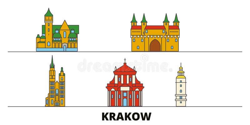 Polônia, ilustração lisa do vetor dos marcos de Krakow Polônia, linha cidade com vistas famosas do curso, skyline de Krakow, proj ilustração royalty free