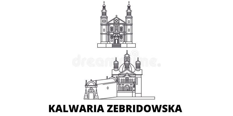 Polônia, linha grupo de Kalwaria Zebrzydowska da skyline do curso Polônia, ilustração do vetor da cidade do esboço de Kalwaria Ze ilustração stock