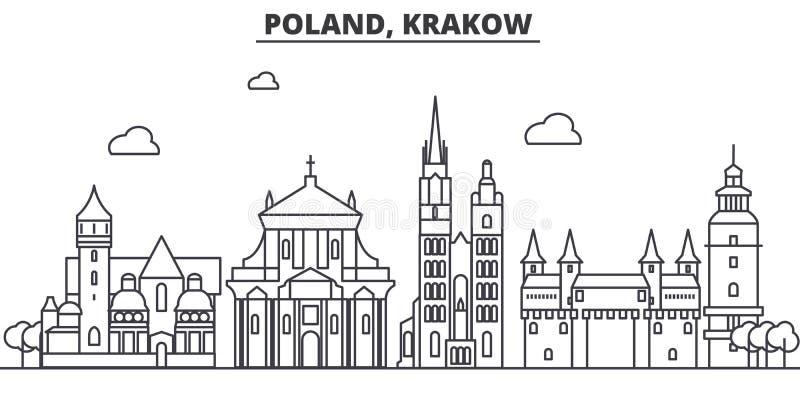 Polônia, linha ilustração da arquitetura de Krakow da skyline Arquitetura da cidade linear com marcos famosos, vistas do vetor da ilustração stock