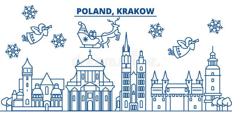 Polônia, skyline da cidade do inverno de Krakow Feliz Natal, feliz ilustração do vetor