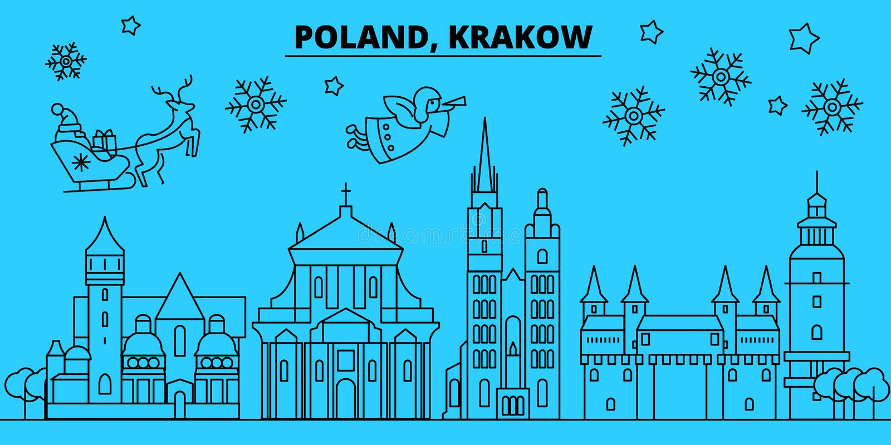 Polônia, skyline dos feriados de inverno de Krakow O Feliz Natal, ano novo feliz decorou a bandeira com Santa Claus Polônia, Krak ilustração royalty free