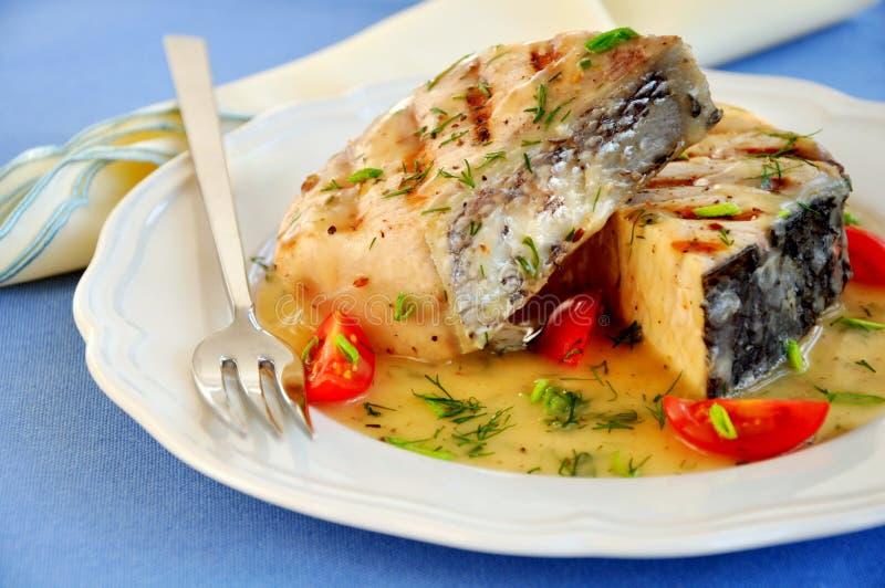 polędwicowa ryba piec na grillu obrazy royalty free