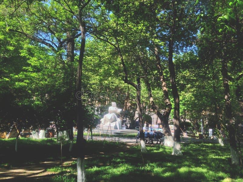 A pol?cia e as artes, o jardim da manh? nomeado ap?s Martiros Saryan foto de stock royalty free