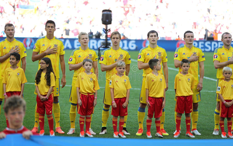 Polônia 2016 de Ucrânia v do jogo do EURO do UEFA imagens de stock royalty free
