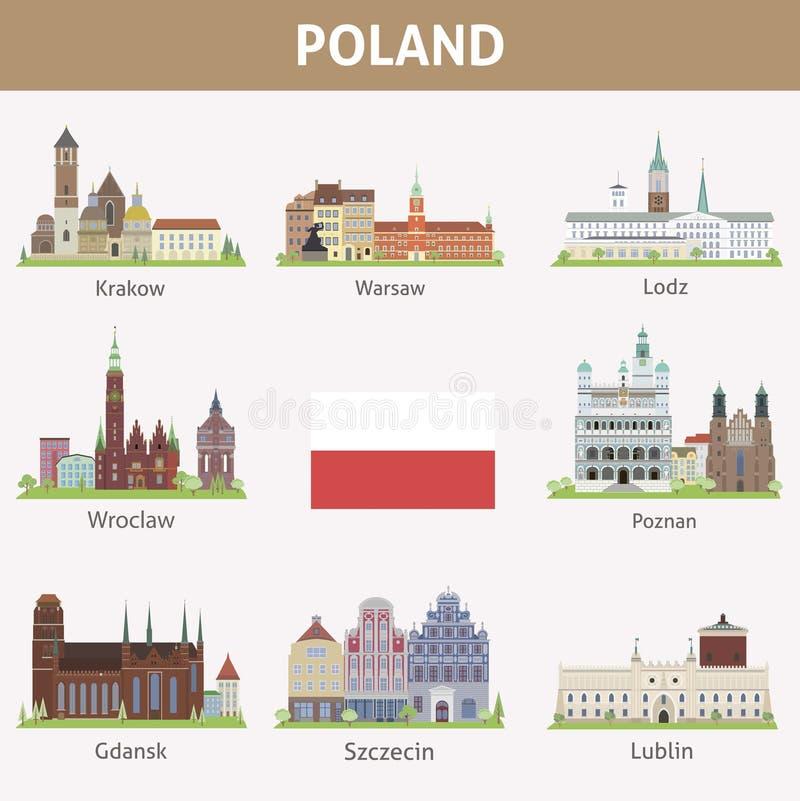 Polônia. Símbolos das cidades ilustração stock