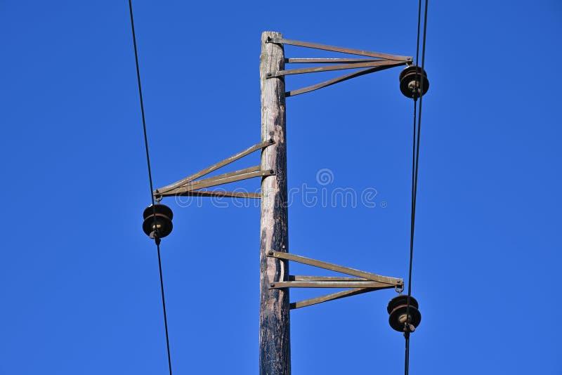 Pol och trådar för tappning elektrisk arkivfoto