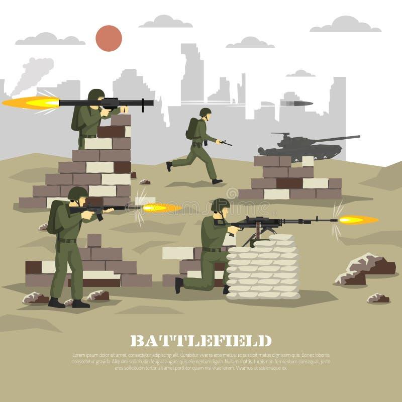 Pola bitwy doświadczenia mieszkania Militarny Filmowy plakat ilustracja wektor