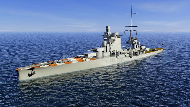 Pola war ein Zara-klasse schwerer Kreuzer des italienischen Regia Marina Royal Navy, Kriegsschiff lizenzfreie abbildung