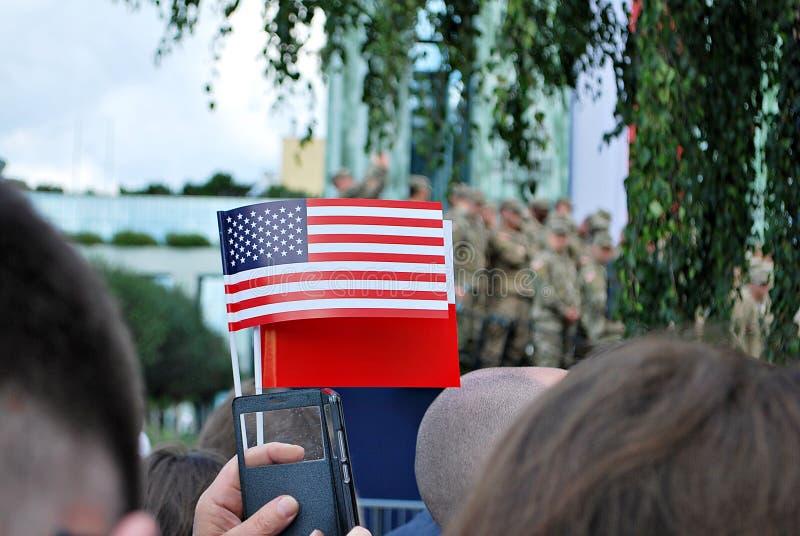 Polacco e bandiere americane immagine stock libera da diritti