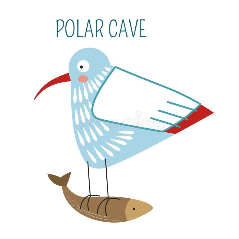 Polair hol, vogel die met vissen in klauwen wegvliegen vector illustratie
