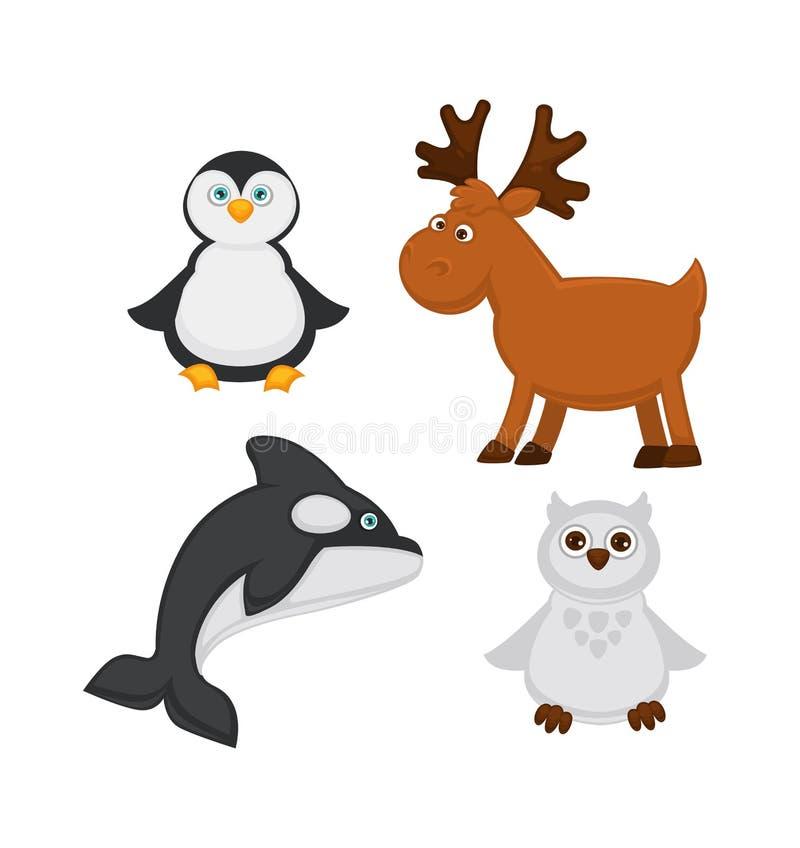 Polaire dieren en vissenbeeldverhaal vectorpictogrammen van pinguïn, rendier, walvis en uil royalty-vrije illustratie