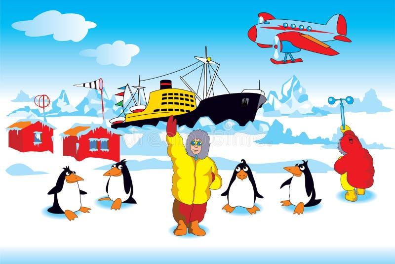 Polaire expeditie stock illustratie