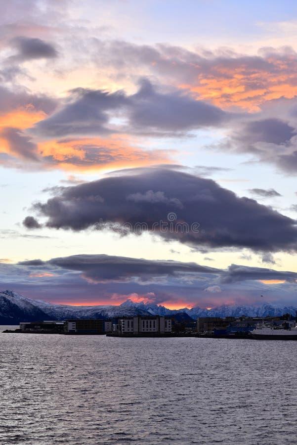 Polaire nacht in Sortland, Noorwegen royalty-vrije stock afbeelding