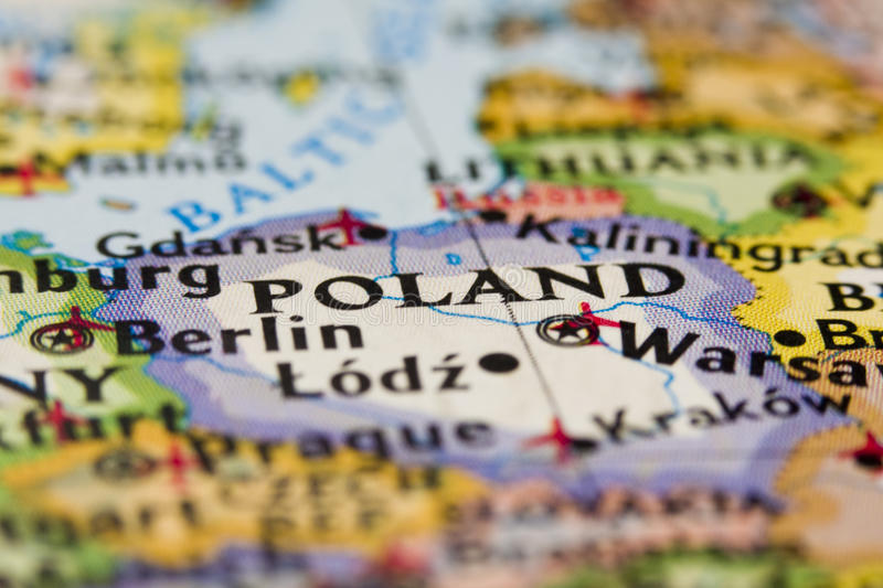 Poland. In close up on the map